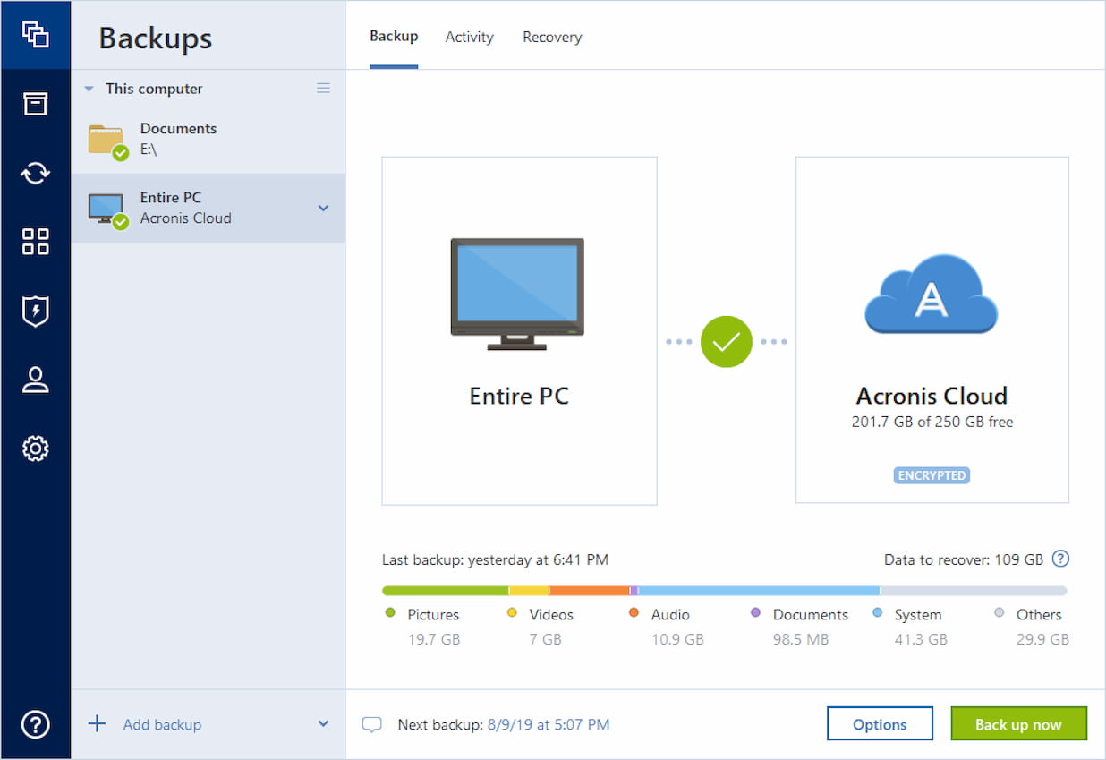 Acronis True Image 2020 Simple Interface